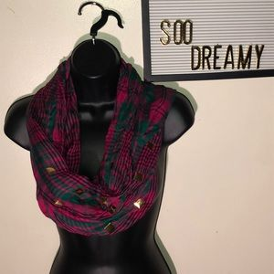 Plaid Green and Pink Loop Scarf with Gold Accent